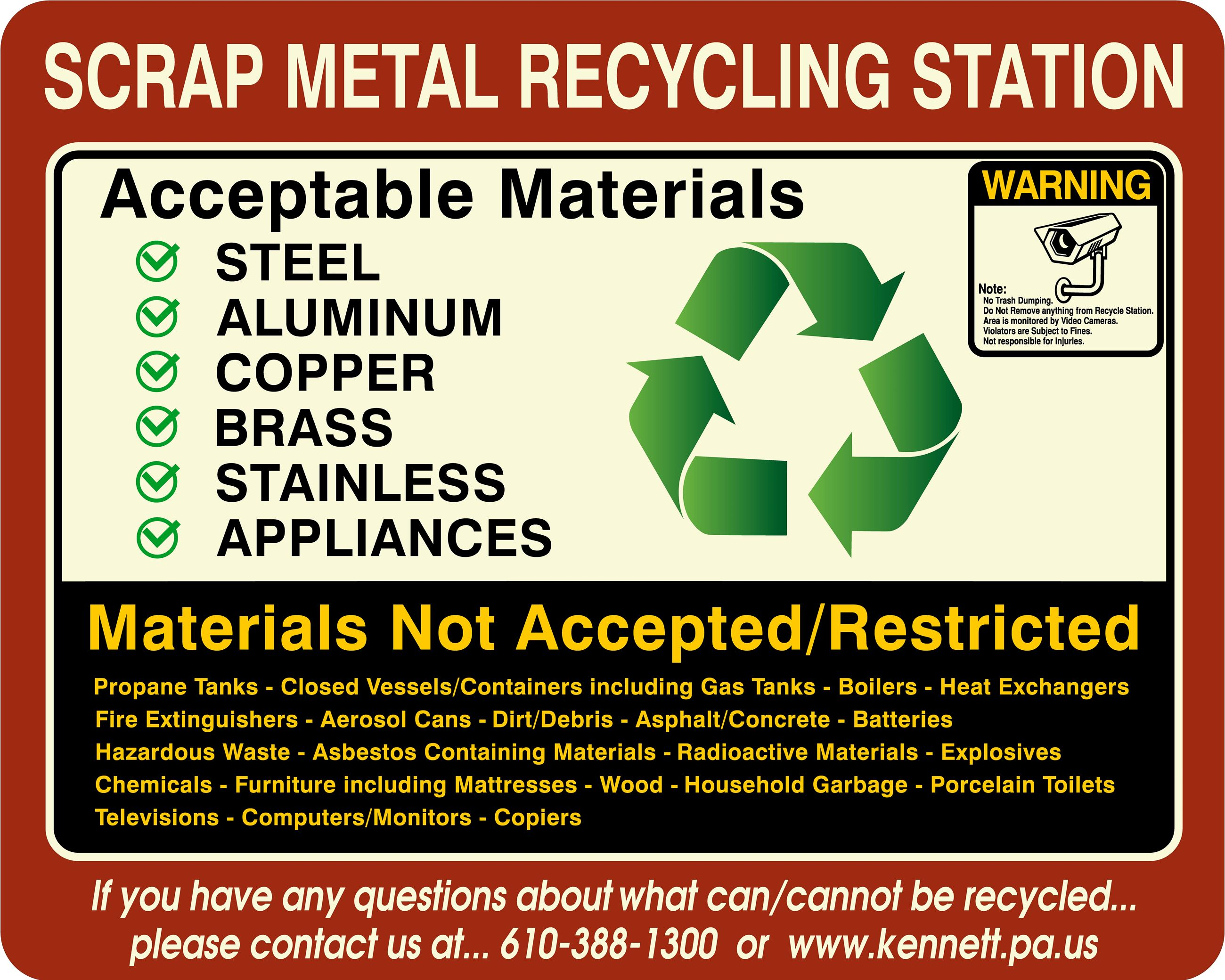 KENNETT TOWNSHIP SCRAP METAL RECYCLING STATION SIGN FOR 2019