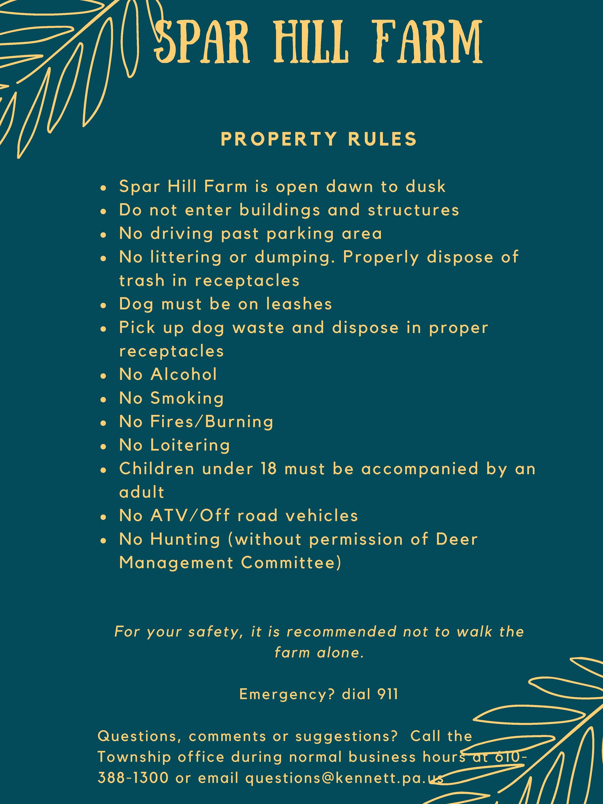 Spar Hill Rules Poster